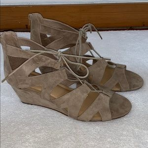 f927b855c153 Torrid Taupe Lace Up Cage Mini Wedge Sandals